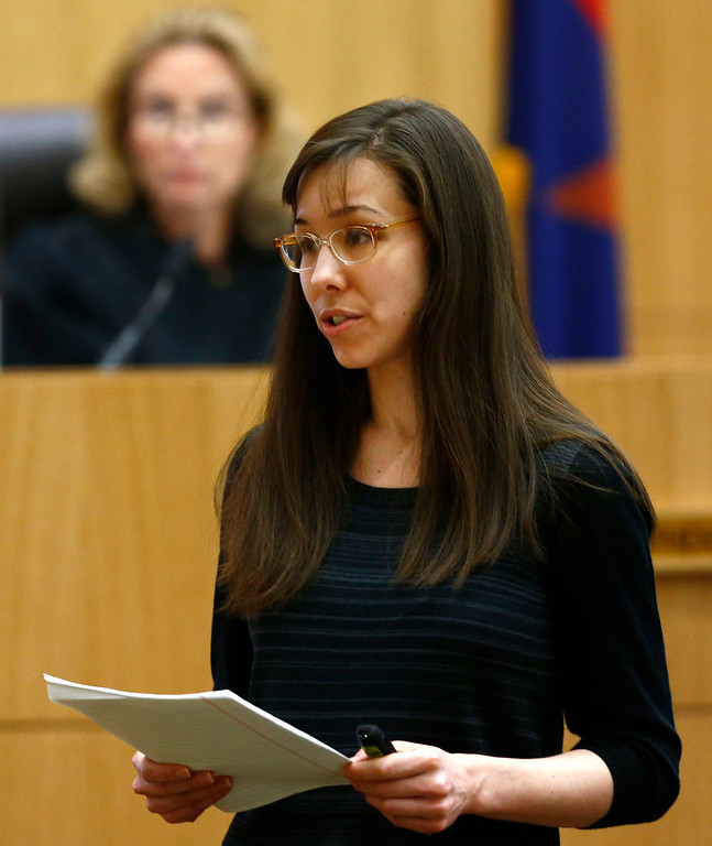 . Jodi Arias addresses the jury on Tuesday, May 21, 2013, during the penalty phase of her murder trial at Maricopa County Superior Court in Phoenix.  Jodi Arias was convicted of first-degree murder in the stabbing and shooting to death of Travis Alexander, 30, in his suburban Phoenix home in June 2008. (The Arizona Republic, Rob Schumacher, Pool)