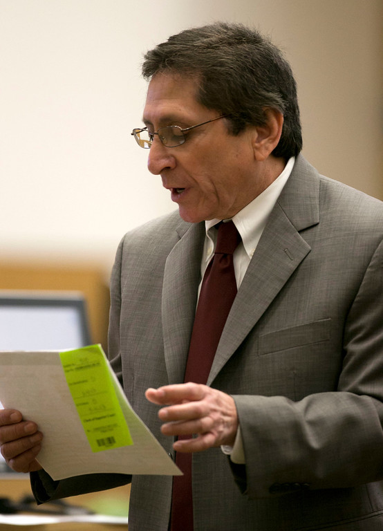 ". Prosecutor Juan Martinez  cross examines Alyce LaViolette, a domestic violence expert, during the Jodi Arias Trial at Maricopa County Superior Court in Phoenix on Wednesday, April 10, 2013. ""Isn\'t it true that Mr. Alexander was extremely afraid of the defendant Jodi Arias based on her stalking behavior?\"" prosecutor Juan Martinez asked LaViolette on Wednesday.  (AP Photo/The Arizona Republic, David Wallace, Pool)"