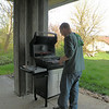 Andy perfecting his grilling technique... here he's whipping up some steaks