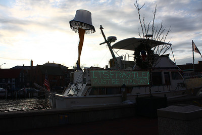 Boat in Annapolis decorated for Christmas.