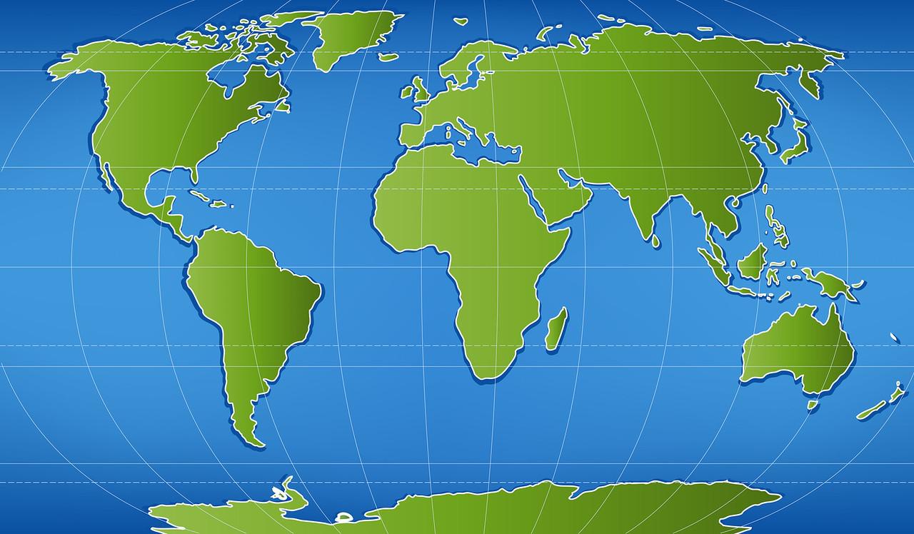 illustration of world map with latitudinal and longitudinal lines