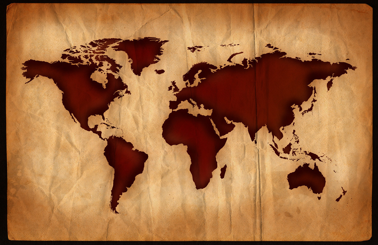 World map on aged, grungy paper.