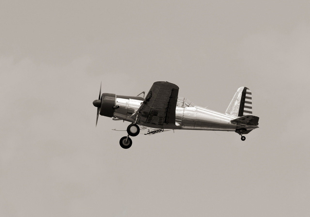 Vintage propeller airplane in flight