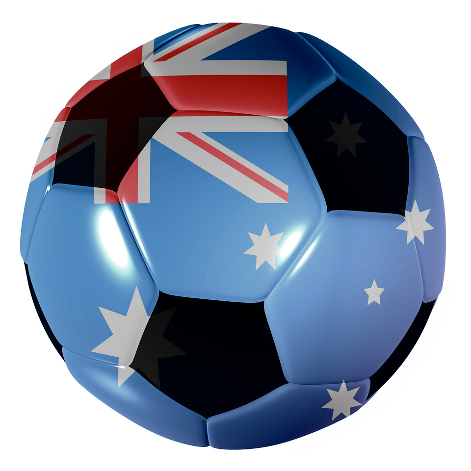Traditional black and white soccer ball or football australia