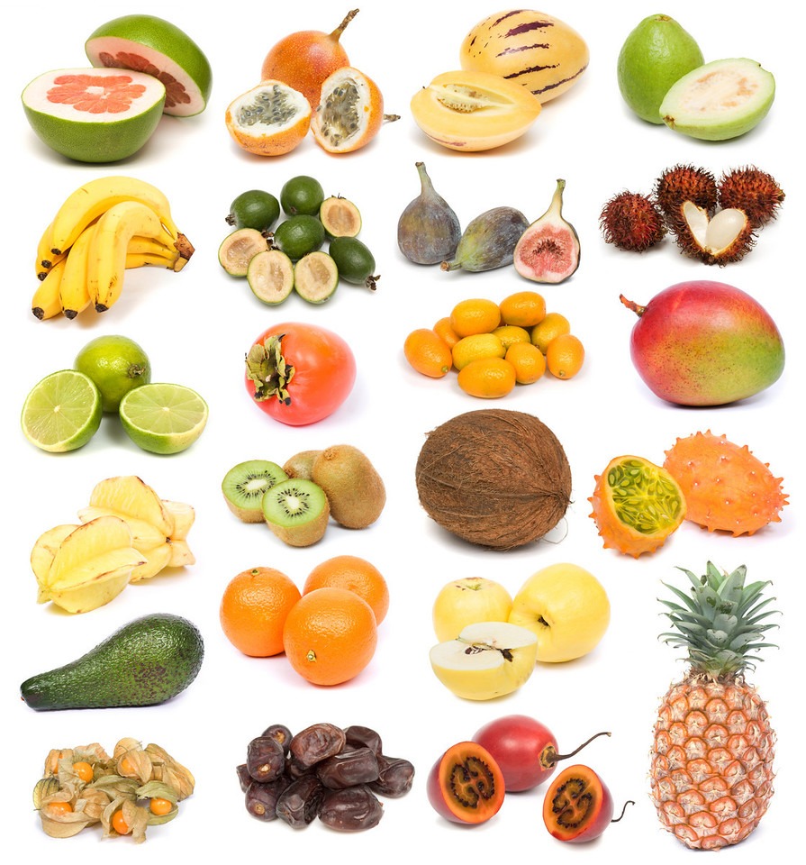 image set of fresh ripe exotic fruits on white background. See larger versions of each image separately in my portfolio