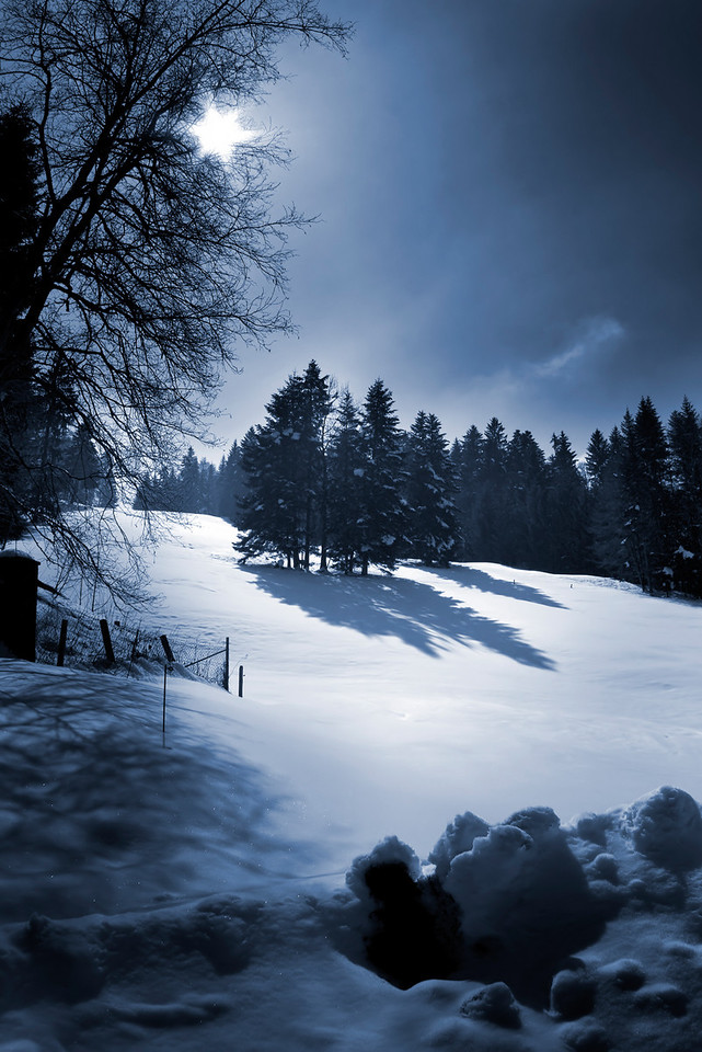 Snow mountain view of a swiss landscape.