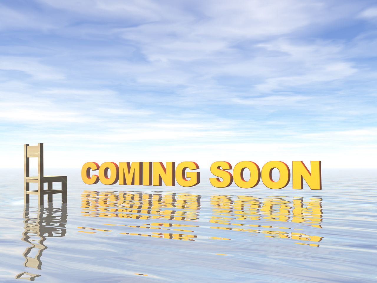 coming soon text and chair at water landscape - 3d illustration
