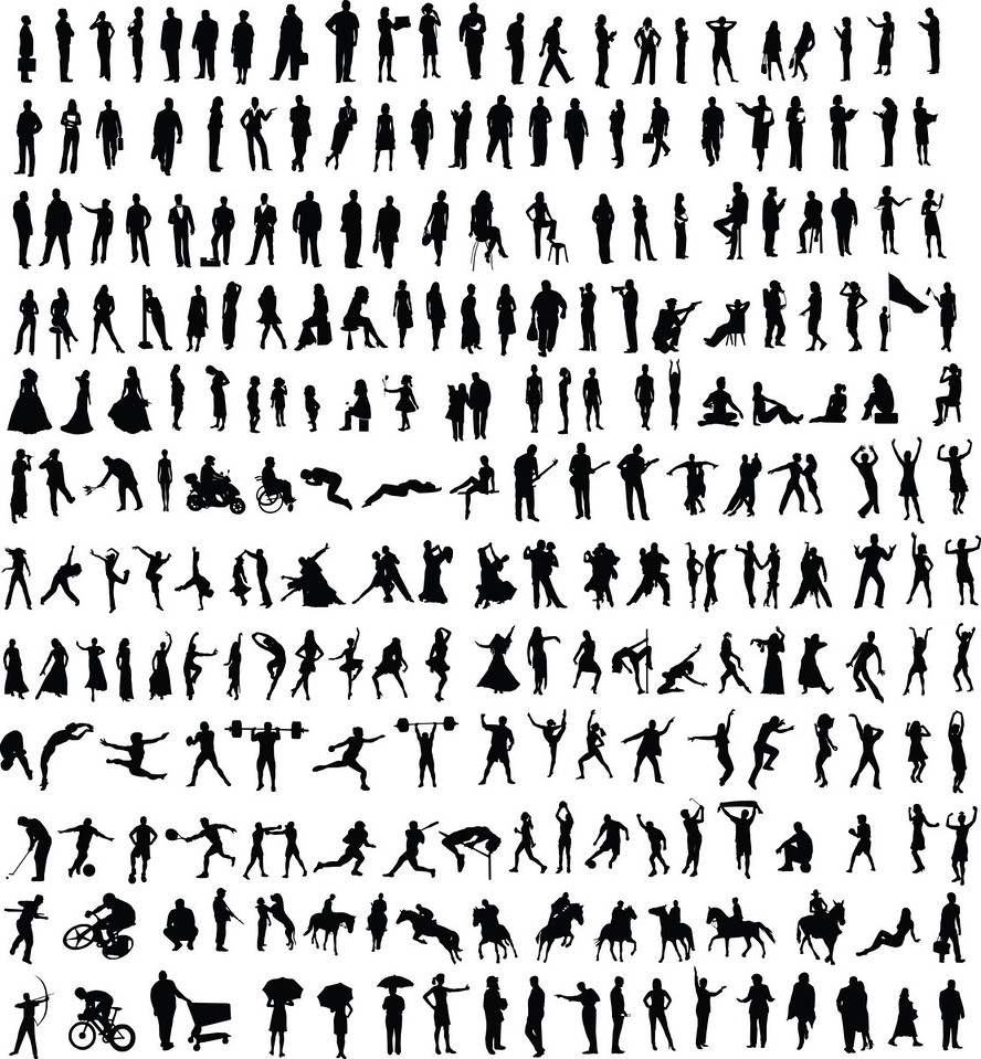 Hundreds of different vector people silhouettes