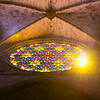 Sunshine through the stained-glass window of the Cathedral in Palma de Mallorca