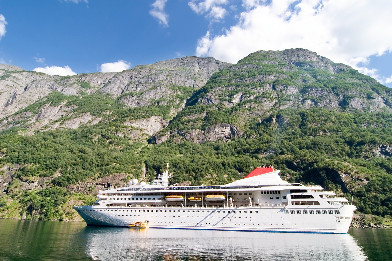 Cruise boat on the Sognefjord near Gudvangen in the western area of Norway.