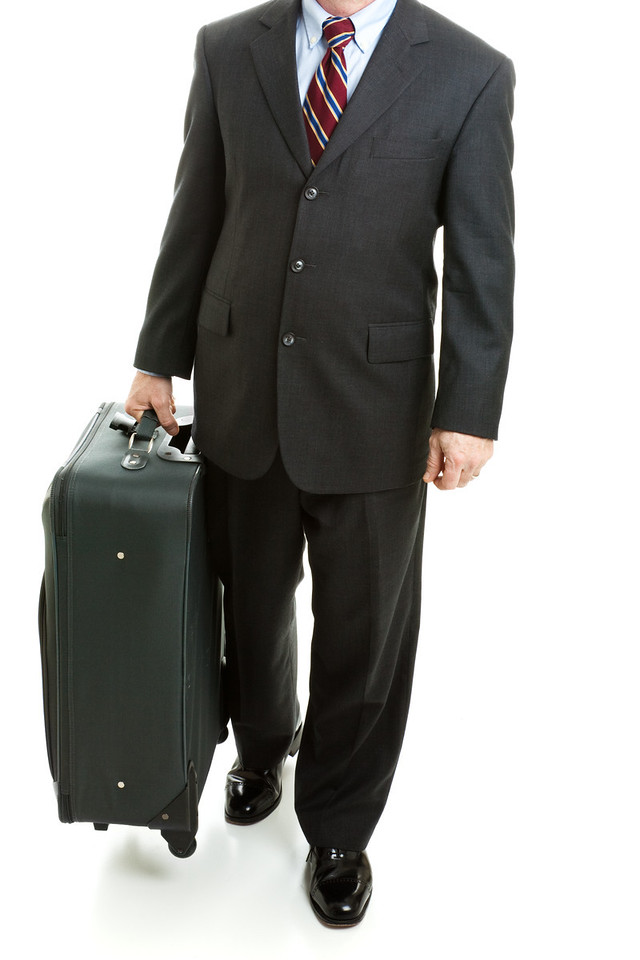 Business Traveler With Suitcase - Isolated