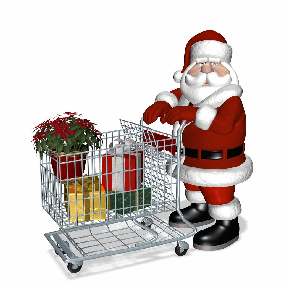Santa shopping for Christmas gifts.<br /> Has a basket with gifts and a poinsettia.