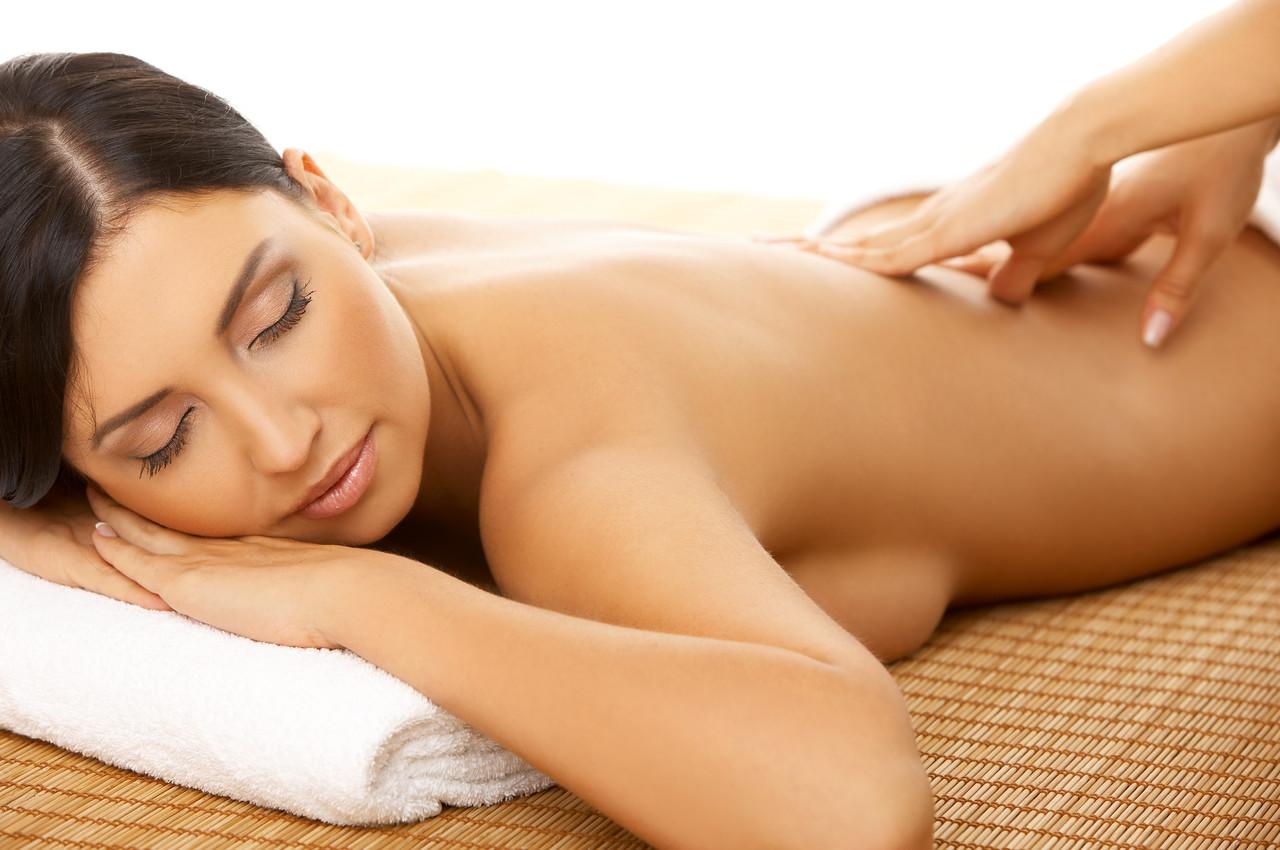 Portrait of Fresh and Beautiful brunette woman taking massage