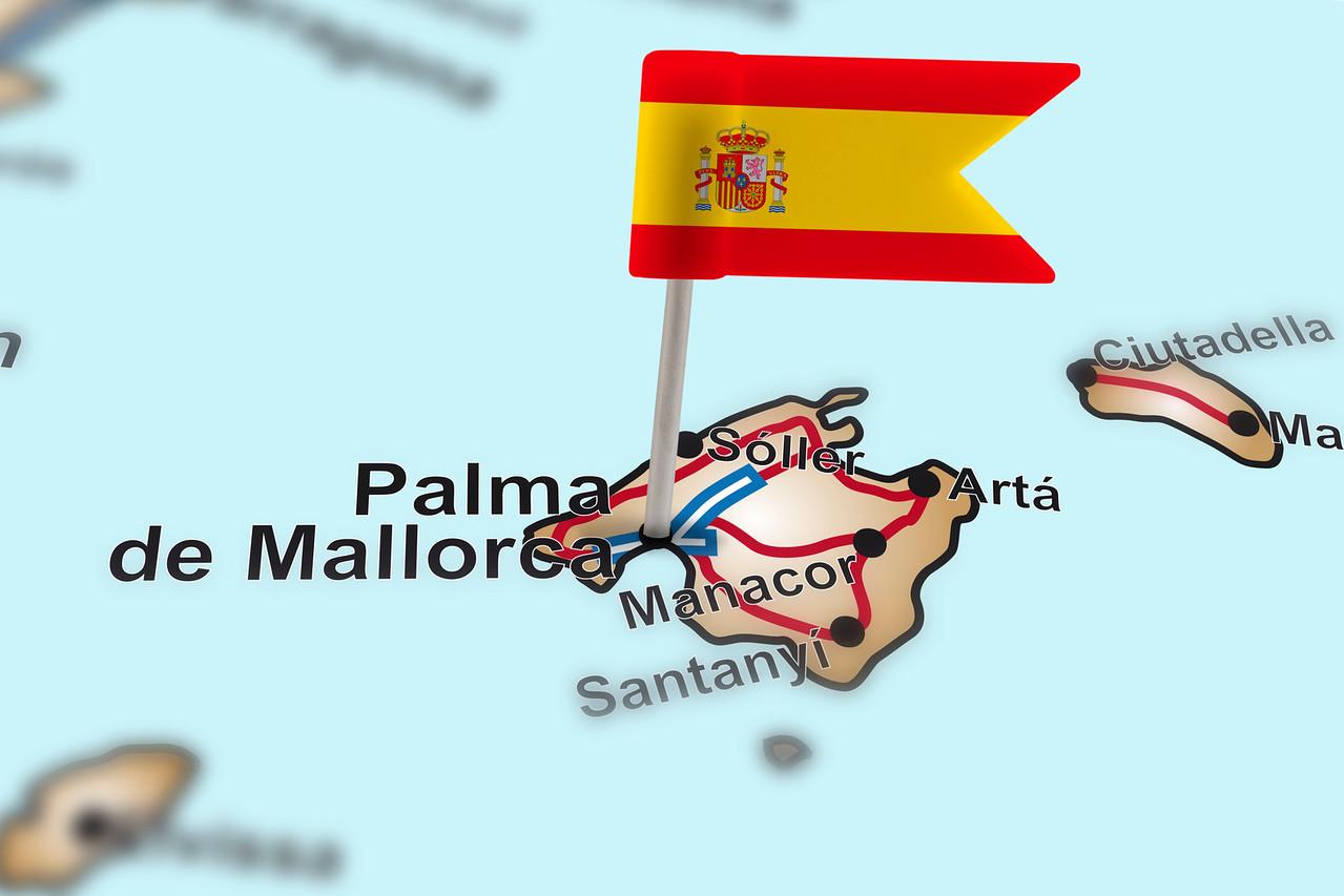 pin with flag of Spain in Palma de Mallorca
