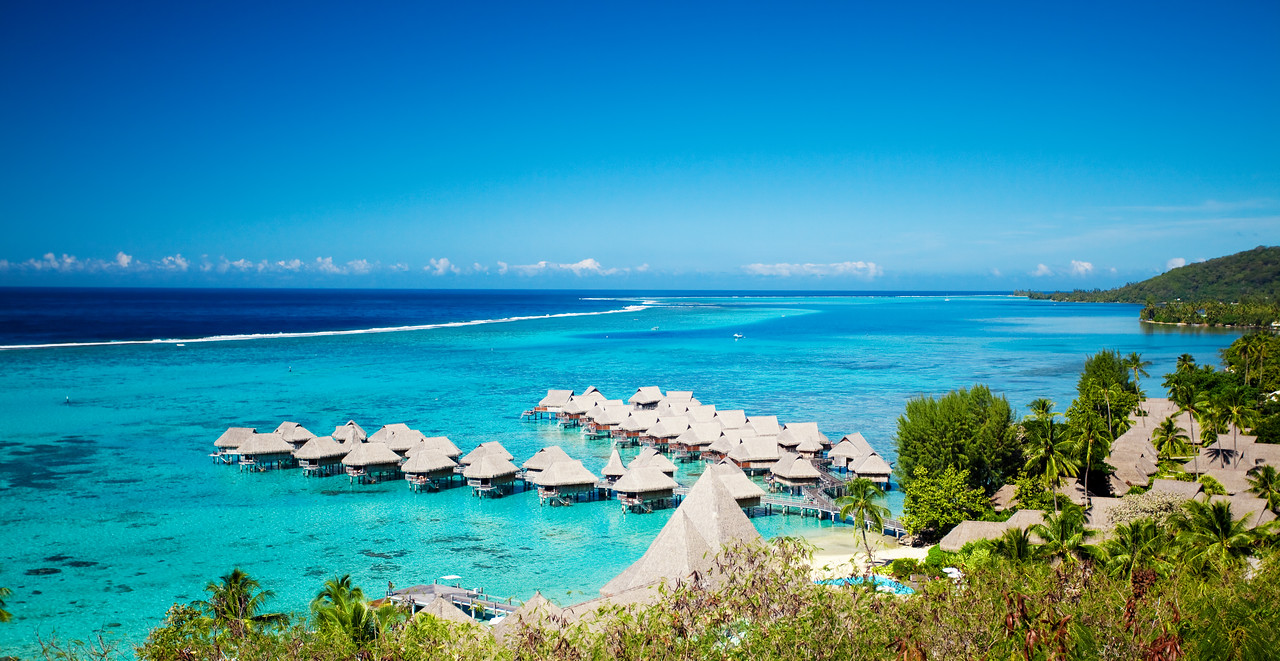 High angle shot of over water bungalows at Moorea island
