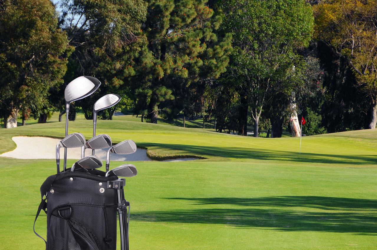 Golf Clubs in Bag on Fairway