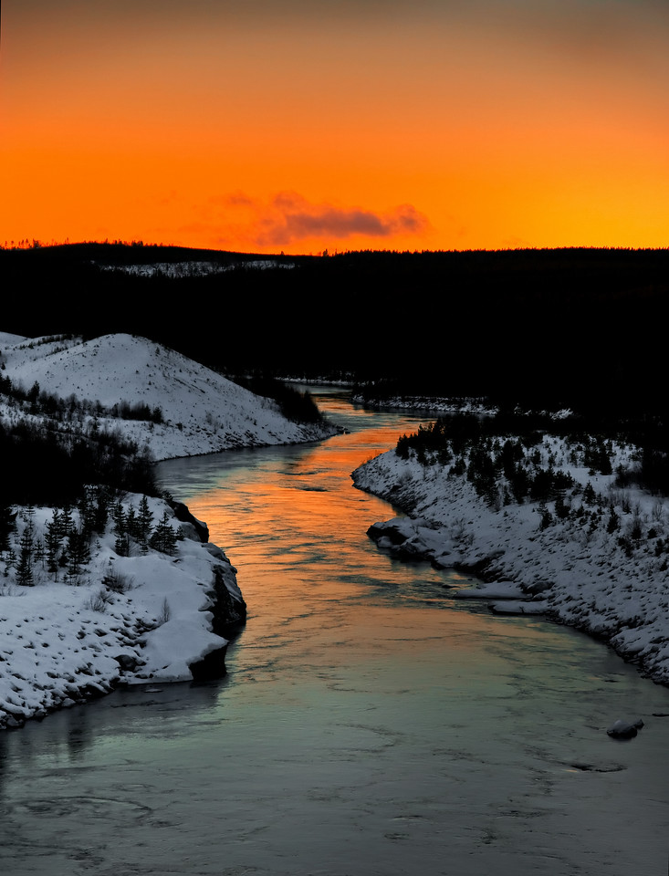 winter river scenery in the north of sweden