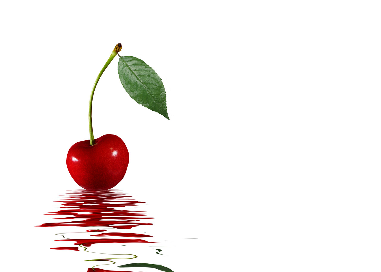 red cherry and water with reflection, white background