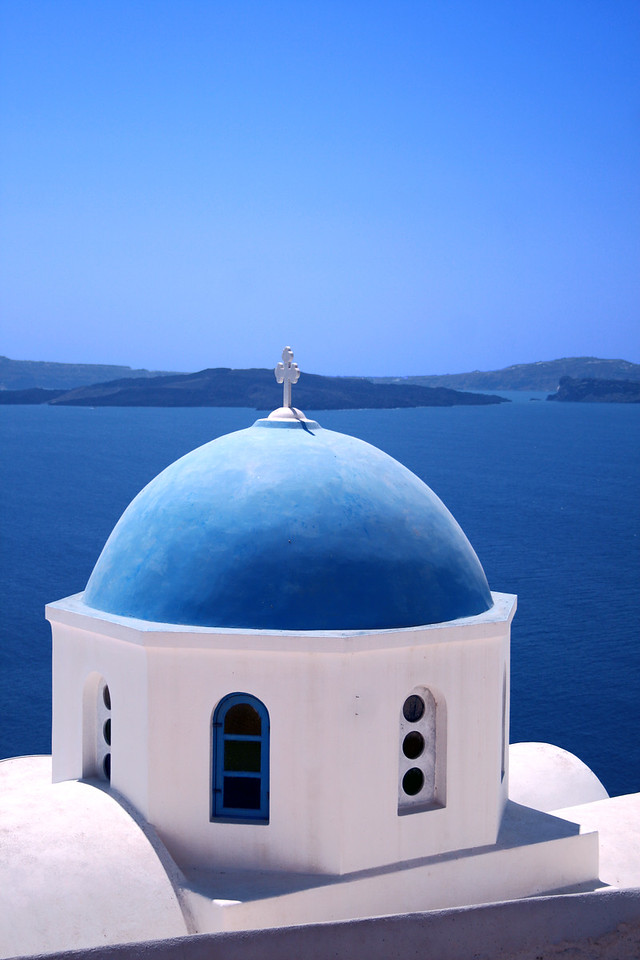 Traditional greek orthodox church from Santorini Island - Greece
