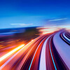 Abstract view on elevated highway, speeding concept.