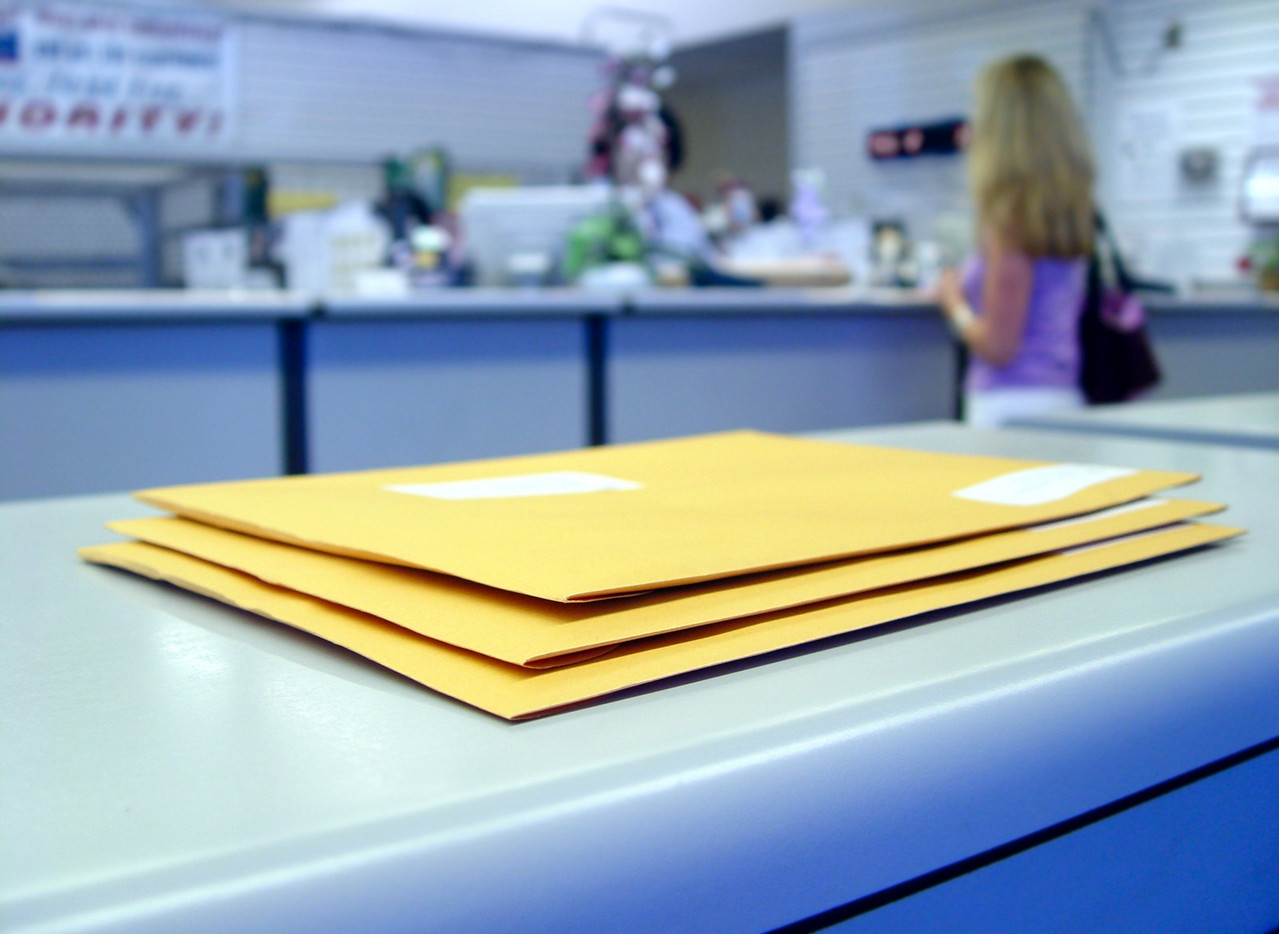 Yellow envelops at the Post office