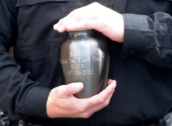 Kilo's urn is engraved with his End of Watch date.