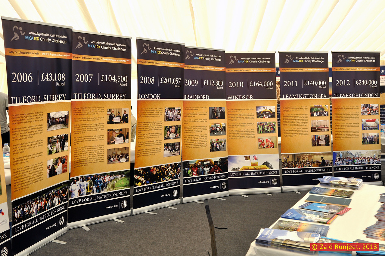 """Exhibition in the marquee that shows amounts raised every year since 2006 - from £43,000 in 2006 to over £240,000 in 2012. By the time all monies are collected from other events linked to this, it is hoped Inshallah, that nearly £300,000 will be raised!<br /> <br /> (c)  <a href=""""http://www.khuddam.org.uk"""">http://www.khuddam.org.uk</a> (Zaid)"""