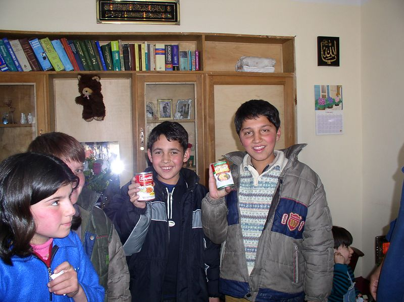 These boys found the soup in the boots (next picture). When the kids found the blow-pops, they returned them to me, thinking the donor forgot them ! Such honesty.........................a true Afghan virtue.