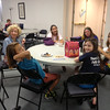 Barbara White enjoys snack time with the campers