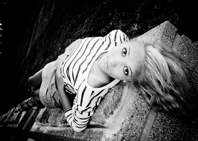 Tina Lying on Stone Platform BW-