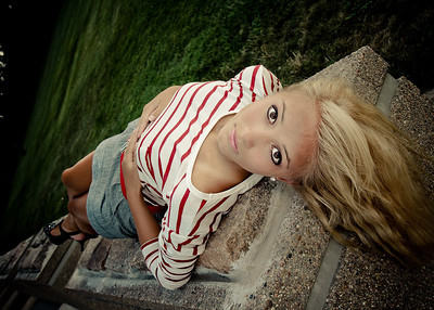 Tina Lying on Stone Platform-