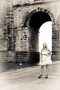 Tina Under Bridge BW Art-1551
