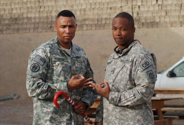 NAME:  LTC Mark D. Thompson and CW2 Frantz Souffrant<br /> KAPPA CHAPTER:  Louisville, KY and Brooklyn, NY Alumni Chapters<br /> BRANCH OF SERVICE:  Army<br /> YEAR PHOTO WAS TAKEN:  2009 (Camp Victory Iraq)