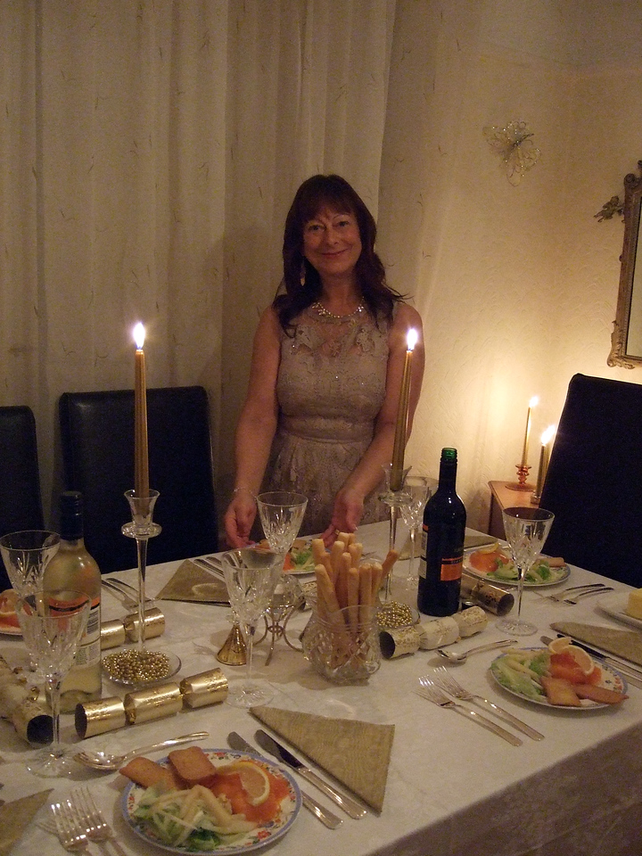 Karen at her festive table - the table cloth came in for a battering later when the crackers were being pulled!