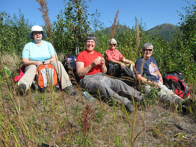 2012  Leading the hiking group on the Kenai River Trail traverse.
