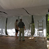 Steve and Jay converting the carport into the bar for the reception -- the right men for the job.