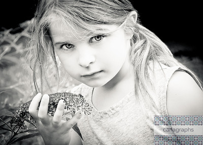 Kate with Flowers bw-