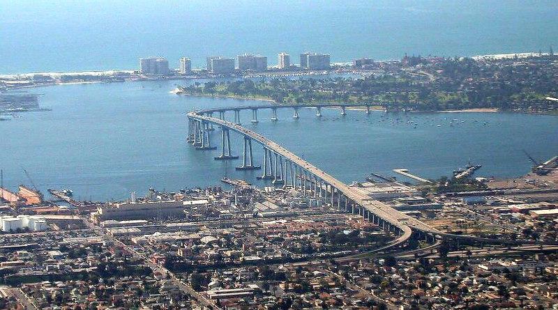Flying into San Diego, over Coronado Bridge