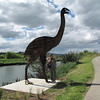 Josie with the 4.2 metre-high (life size) Moa on The Bird Walk.