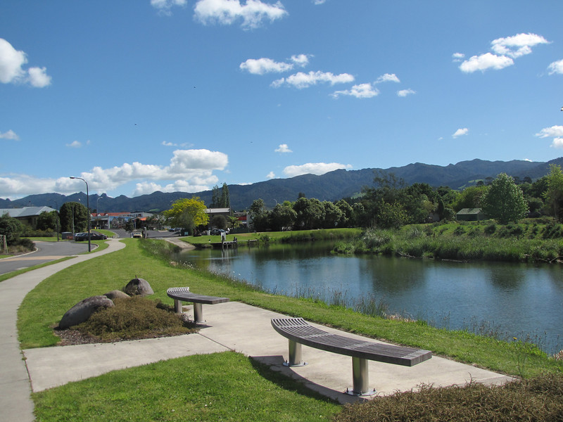 The beginning of the Bird Walk along the Uretara walkway looking back towards Katikati and 'The Landing' where the first Pioneer store was.