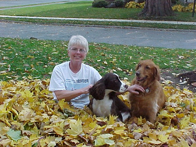 Kay playing with the dogs.  Fall leaves piled up on the Blvd.