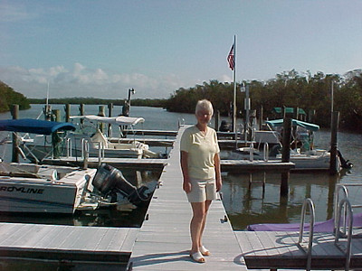 Florida Visit  Kay down at the docks in Marco Island