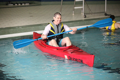 24FEB13__ John Patrick of Carlisle Township has the hang of it at the kayaking class at Splash Zone in Oberlin. photo by Ray Riedel