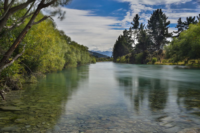 The Hawea River just upstream of the whitewater park