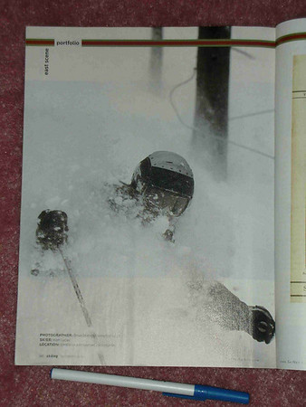 Skiing Magazine, full-page.  This photo is near to my heart as I am skiing beside a maple syrup line in the Vermont sugarbush.