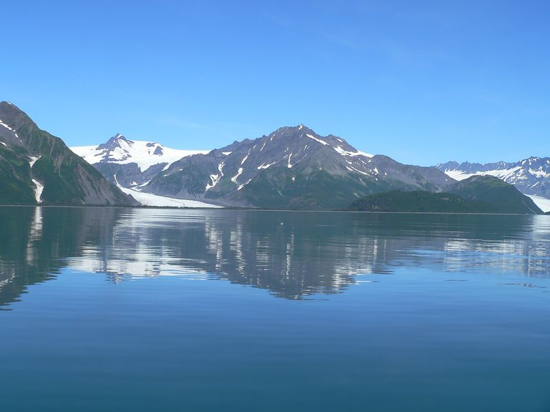 Pederson Glacier (left) and Aialik Glacier (partially visible - right)