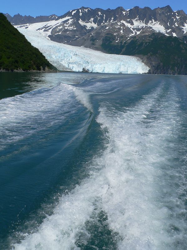 Motoring away from Aialik glacier