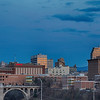 Rising moon over downtown Spokane.