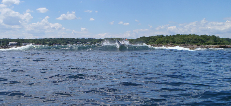 Sal punching through a 5 footer at Cape Porpoise...