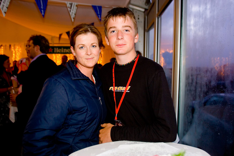 Rachel Cox with her nephew Thomas Cox from Ballybunion at the VIP tent at the Gypsey Kings at the World Fleadh in Ballybunion